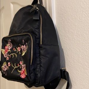 Bags - black backpack with floral details